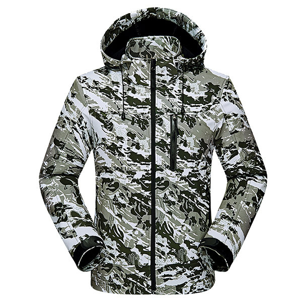 Mens Camouflage Printing FleecE Mountaineering Outdooors Hooded Jacket Spring Casual Coat