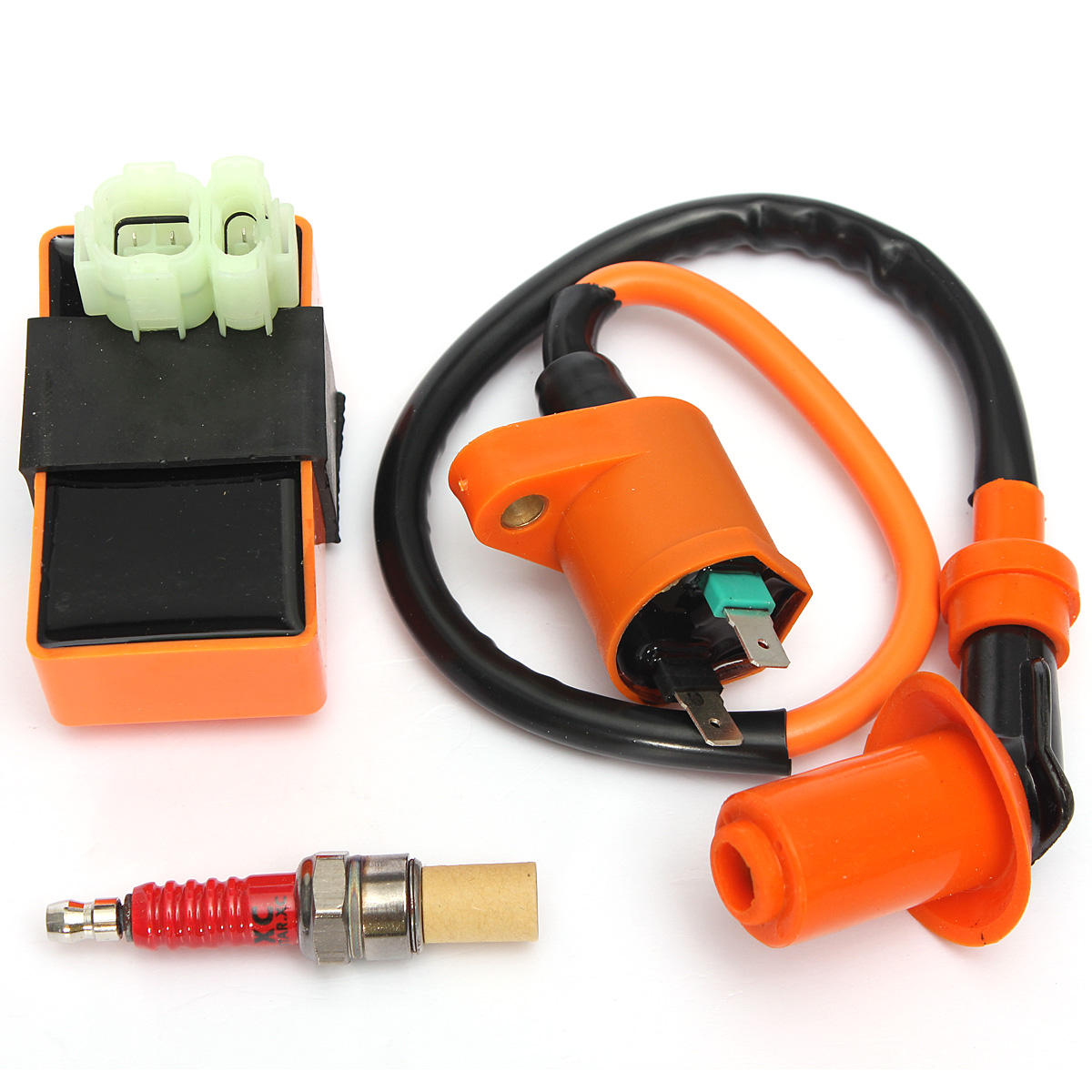 ignition coil+racing cdi box+ spark plug for gy6 50 125 150cc moped scooter  atv go carts cod