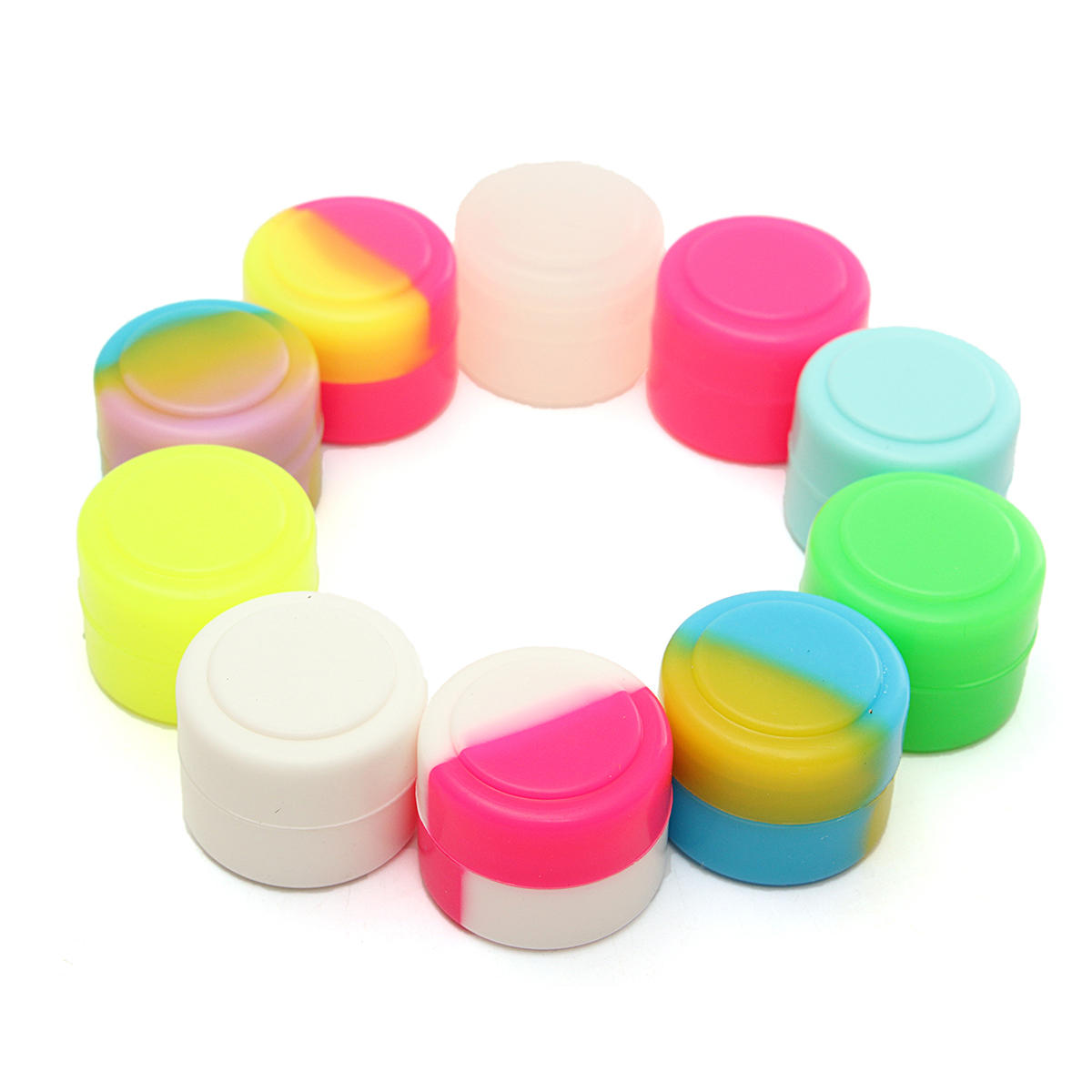 100 Pcs 2ML Colorful Round Silicone Non Stick Concentrate Containers Jar Storage Box