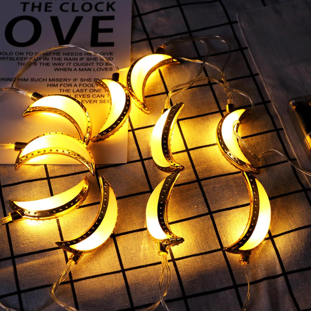 10PCS Golden Moon Shape Eid Ramadan LED String Light Lamp  Islamic Indoor Home Party Decor