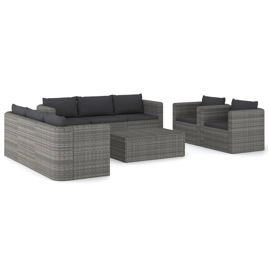 9 Piece Garden Lounge Set with Cushions Poly Rattan Gray