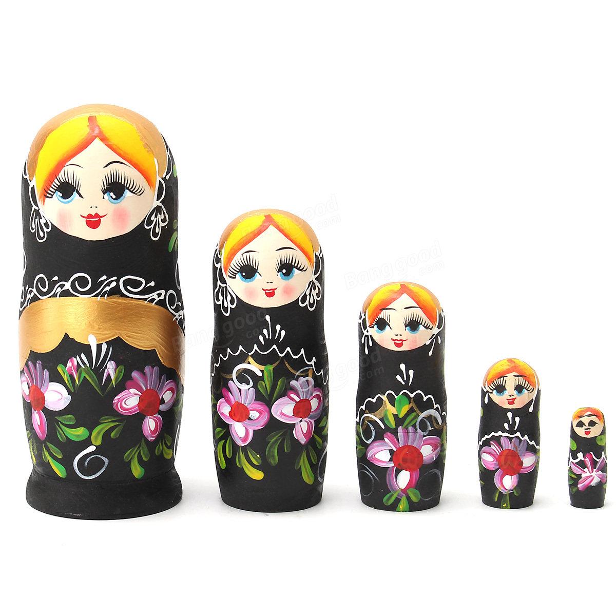 NEW 5pcs/set Matryoshka Russian Nesting Dolls Babushka Wooden BLACK Gift Flowers