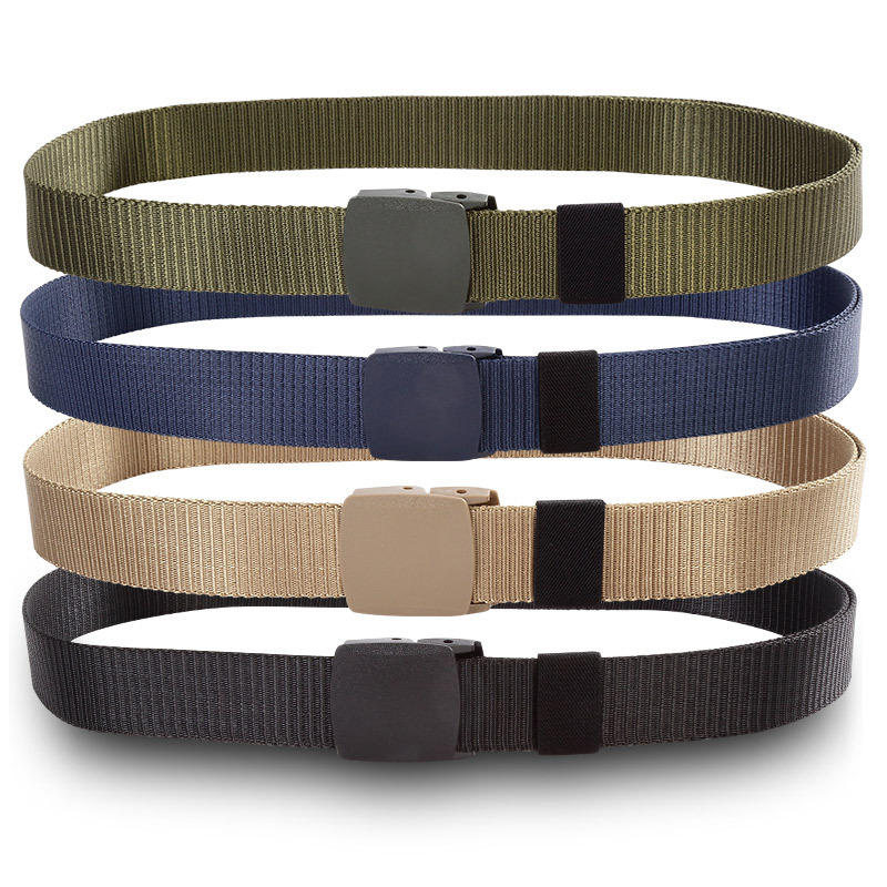 130cm Men Women Nylon Canvas Adjustable Quick Release Tactical Belt No Metal Military 3.8cm Width Anti Allergy Waistband