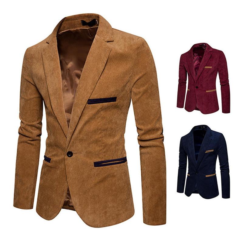 6932ac49 Mens Business Slim Suit Vintage Corduroy Stitching Color Casual Suits -  Khaki M COD
