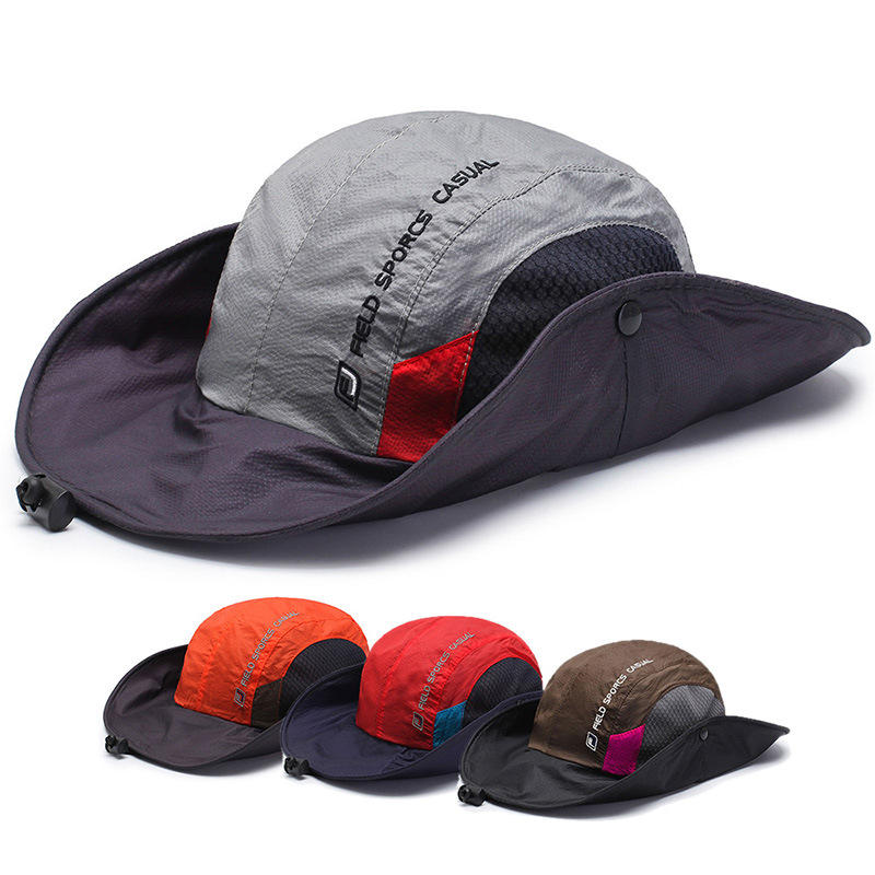 f03d0694b Mens Foldable Breathable Bucket Hat With String Outdoor Fishing Hat  Climbing Sunshade Cap