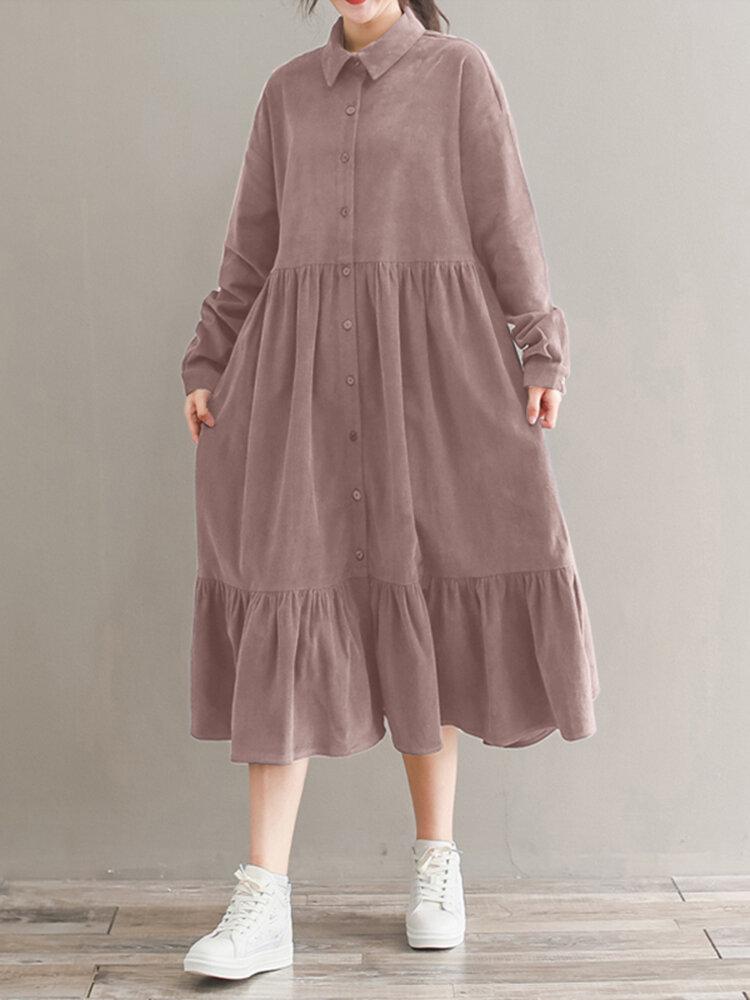Women Corduroy CasualLace-up Ruffles Hem Loose Full Sleeve Mid-Calf Length Midi Dress