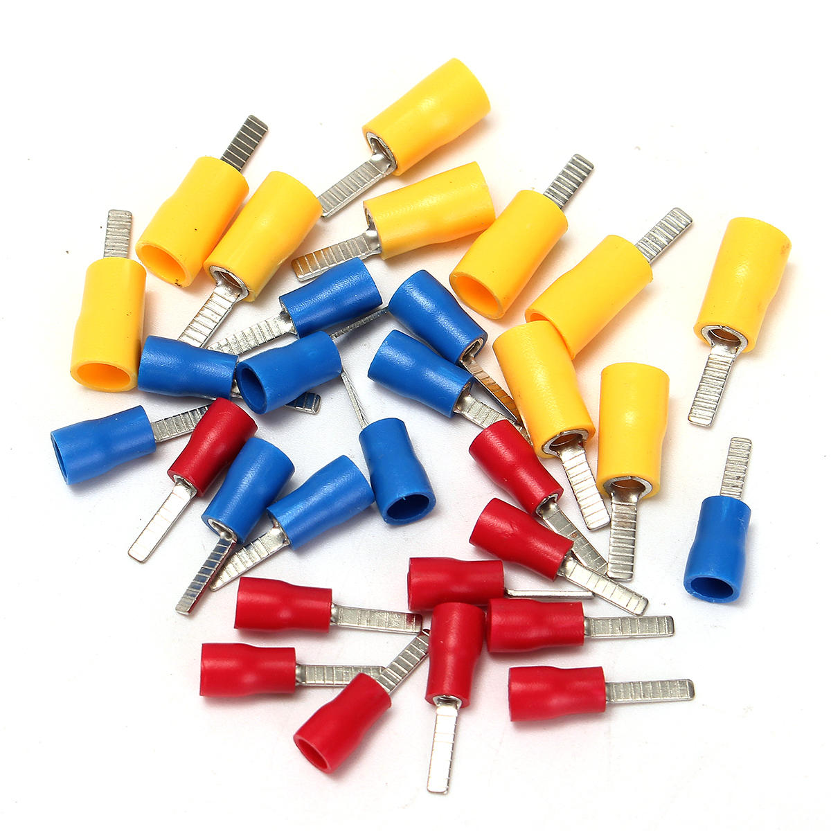 10/25Pcs 22-10AMG Flat Blade Crimp Terminal Insulated Electrical Connector 3 Colors
