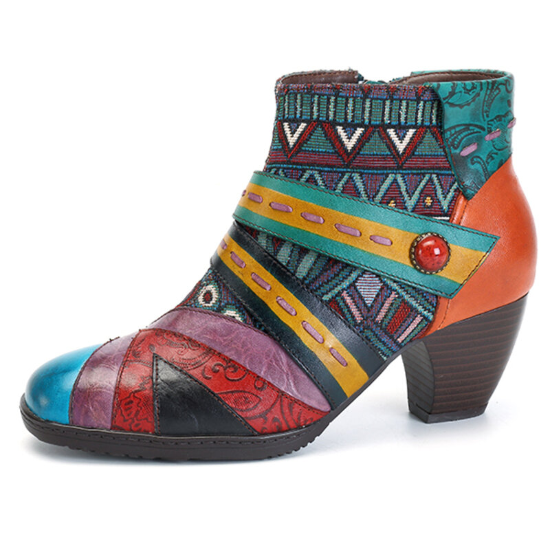 SOCOFY Bohemian Stitching Modello Zipper Ankle Leather Boots Shoes