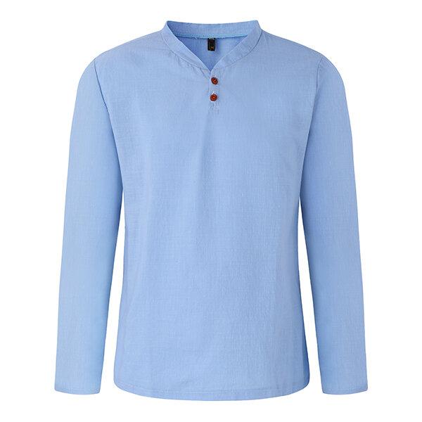 2c47de8da4c1 Mens Spring Casual Linen V-neck Collar Long Sleeve T-shirt Fashion Solid  Color Tops - Khaki 2XL COD