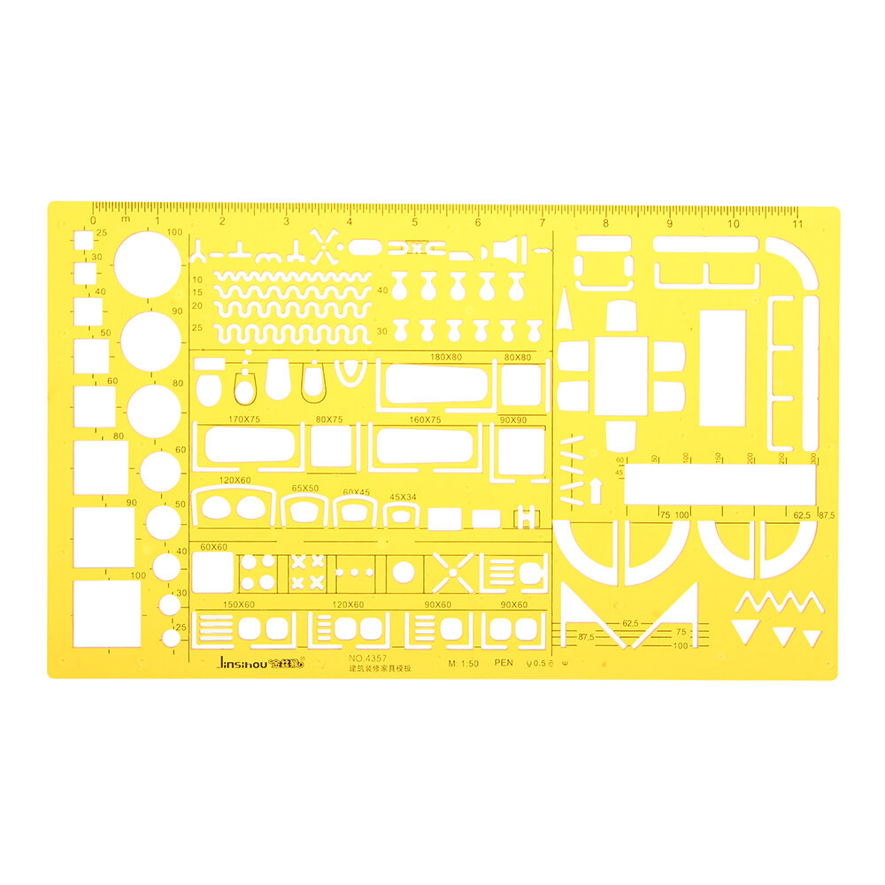 1:50 Interior Decorations Architectural Furniture Drawing Template KT Soft Plastic Ruler Stencil