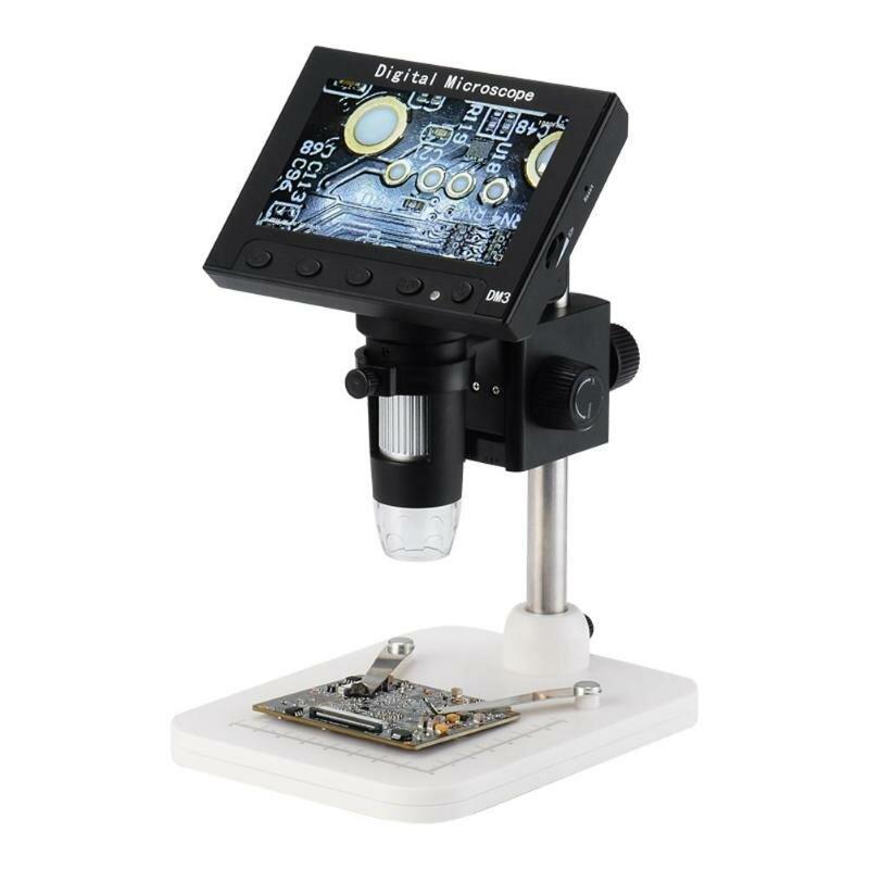 DM3 1000X USB 4.3 inch Kính hiển vi điện tử LCD Máy ảnh kỹ thuật số video HD Camera phóng đại OLED + Đèn LED