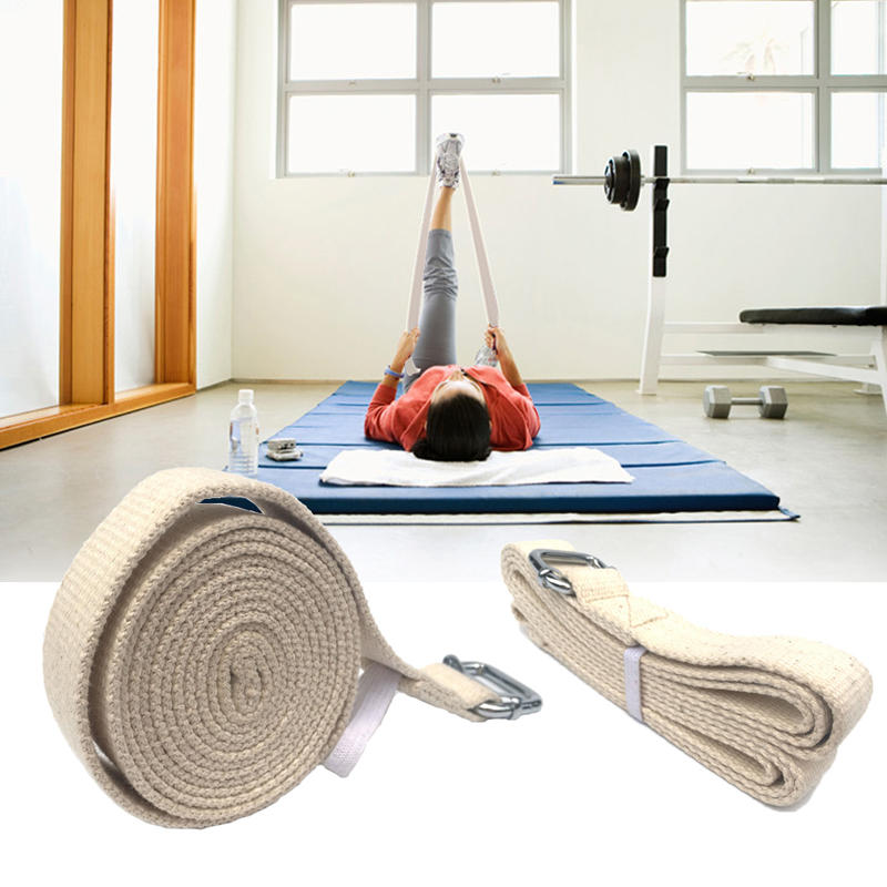 KALOAD 300cm Pure Cotton Pilates Yoga Stretch Belt D-Ring Buckle Training Pull Up Assist Fitness Exercise Yoga Resistance Bands