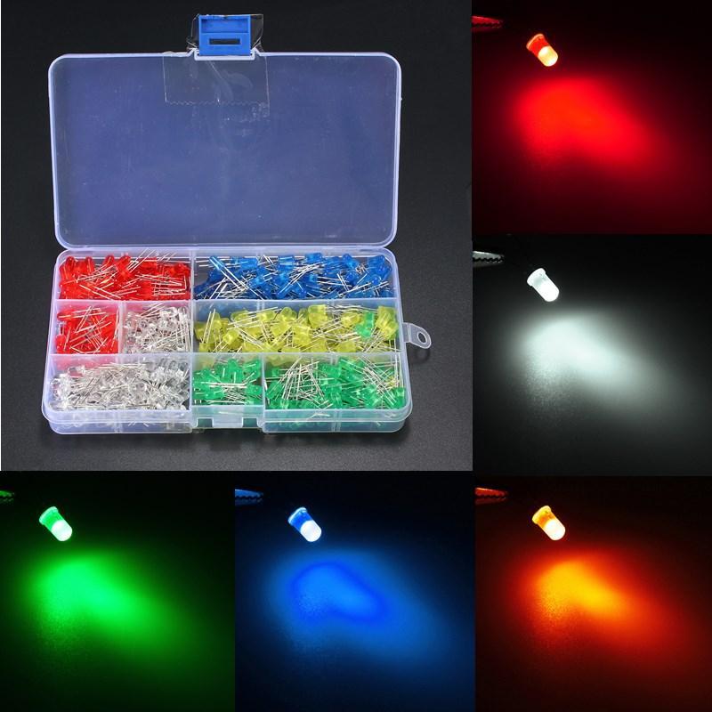 LED Light White//Yellow//Red//Blue//Green Assortment Diodes Kit DIY 500Pcs//box 5mm