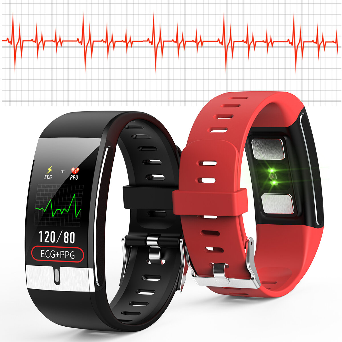 [SPO2 Monitor]Bakeey E66 Thermometer ECG+PPG Heart Rate Blood Pressure Oxygen Monitor IP68 Waterproof USB Charging Smart