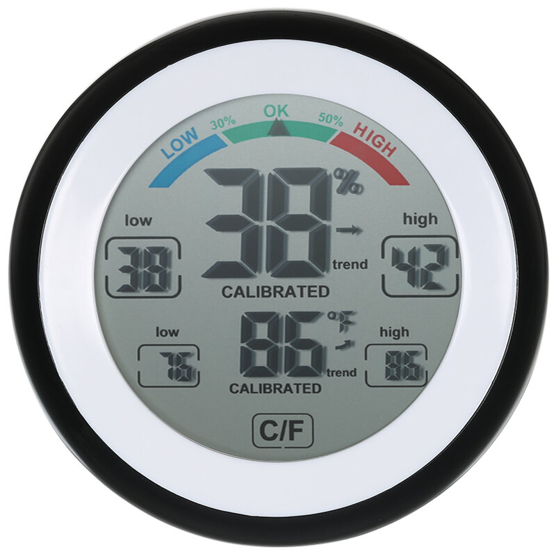 DANIU Multifunctional Digital Thermometer Hygrometer Temperature Humidity Meter Max Min Value Trend Display ℃/℉ Touch Screen