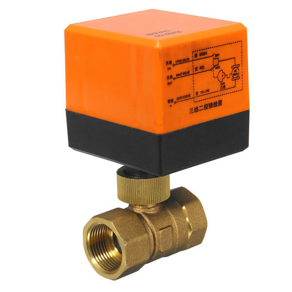 DN15/DN20 220V 4W Electrical Motorized Ball Valve 2 Way 3 Wire Brass Valves фото