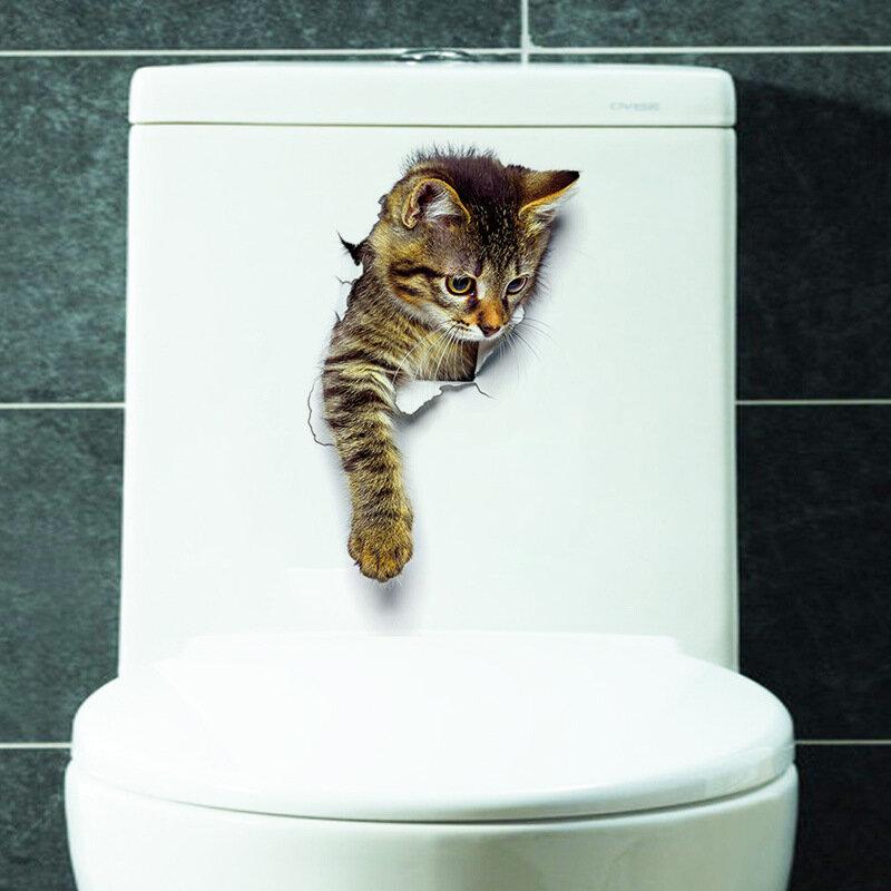 Etiquetas de Parede Gato Giro 3D Adesivos de Banheiro Decoração Criativa Adesivo Parede Animal Decore Sua Casa Como Um Maquilhador
