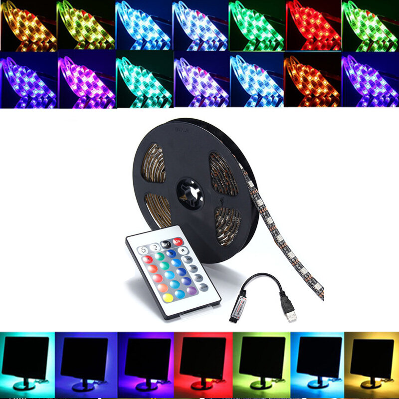 Đèn LED dải đèn LED 0,5 / 1/2 / 4 / 5M SMD5050 RGB Bộ đèn nền TV + Điều khiển từ xa USB DC5V