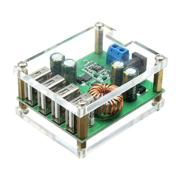 DC-DC Step Down Module Large Power Regulator Converter With 4 USB Interface 7V-60V Input 5V/5A Output Automatic Fast Charge Identification