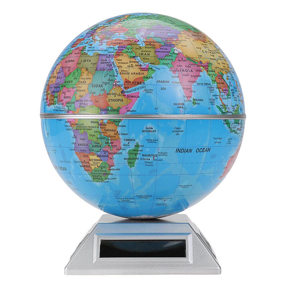 Solar Automatic Rotating Globe Decorative Desktop Earth Geography World Globe Base World Map Education Gift W Base