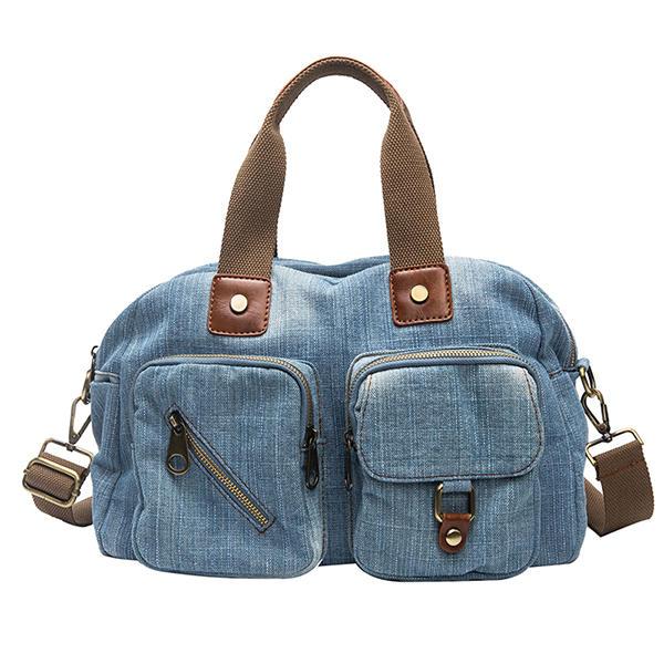 Women Denim Travel Multi-pocket Handbag Casual Crossbody Bag