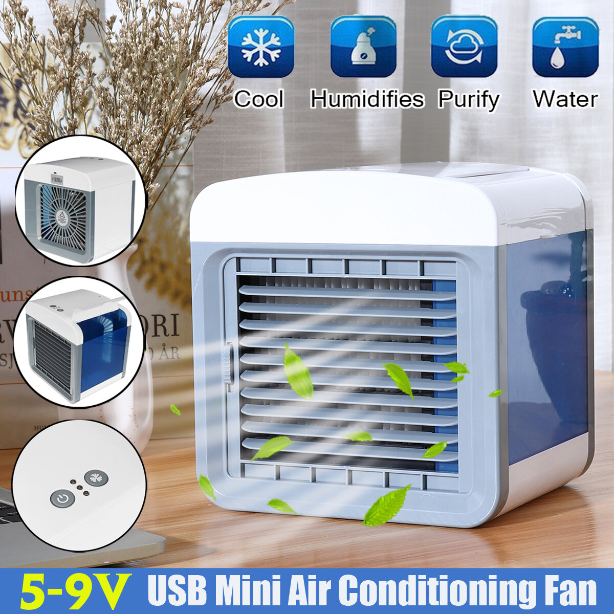 5-9V USB Mini Air Conditioning Fan Humidifier Home Cleaner Portable Fan