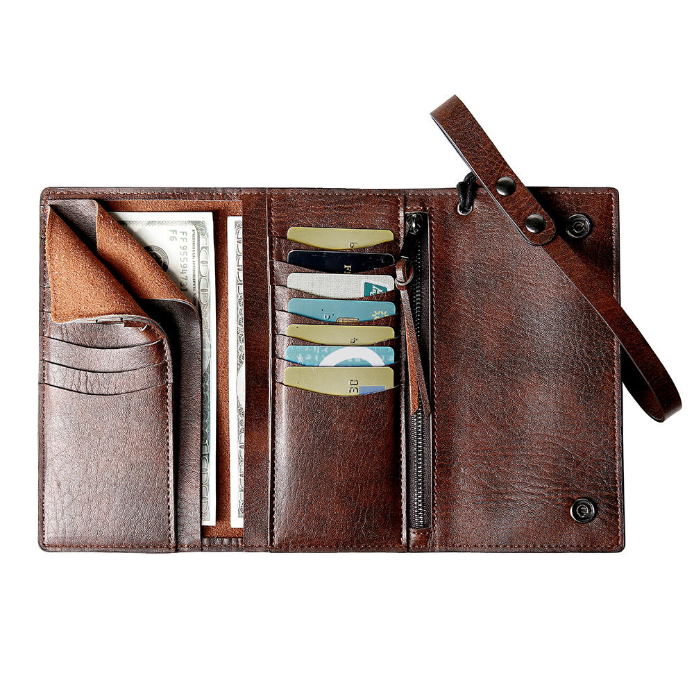 Men Casual Trifold Multi-Slot Long Wallet Card Holder Cash Holder Clutch Bag