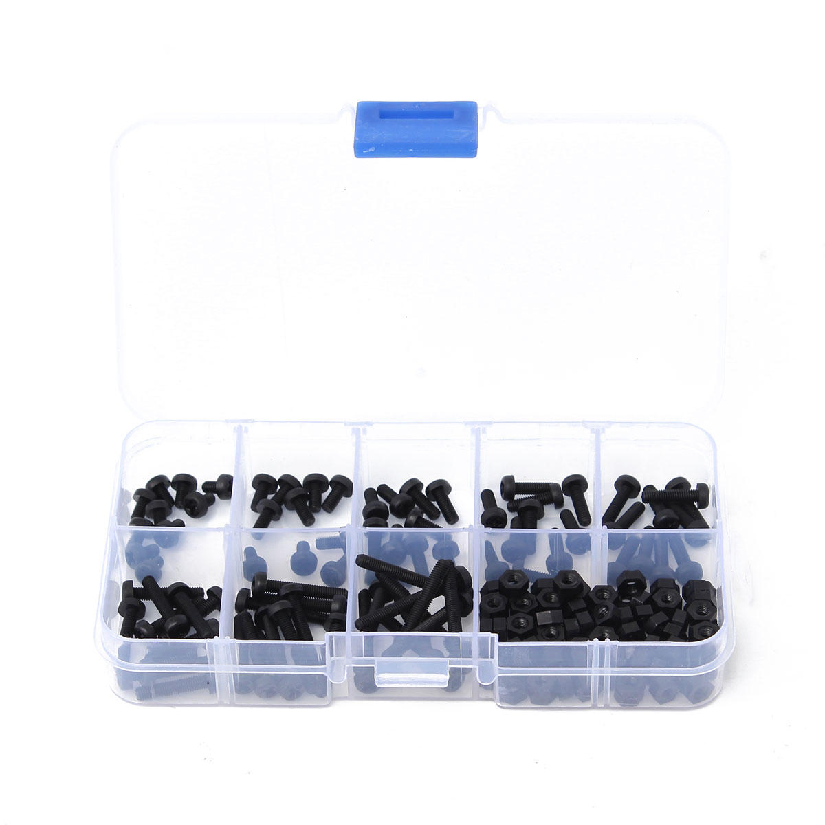 160Pcs Metric M3 Black Nylon Phillips Pan Head Screw Nut Assortment Set