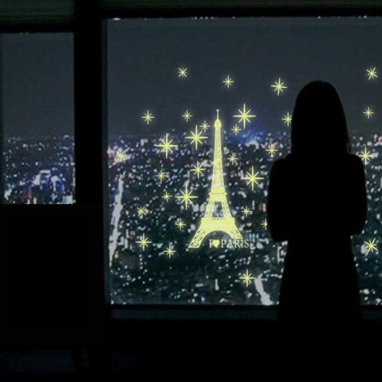 Pegatinas de pared luminosa torre Eiffel brillan en la oscuridad sala de la casa decoración de la pared ventana