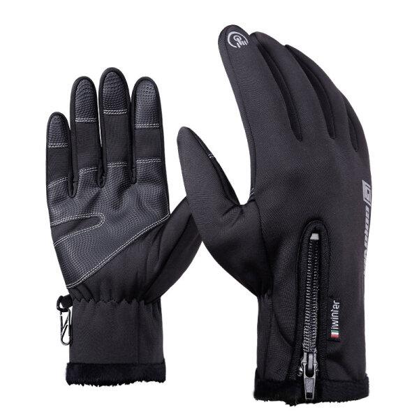 Sarung Tangan Layar Sentuh tahan air Untuk Sepeda Motor Bersepeda Ski Pria Hitam SML XL 2XL