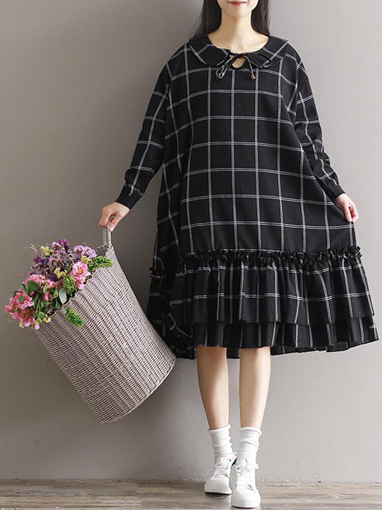 Plus Size Women Plaid Dress Long Sleeve Elegant Mori Girl Dresses