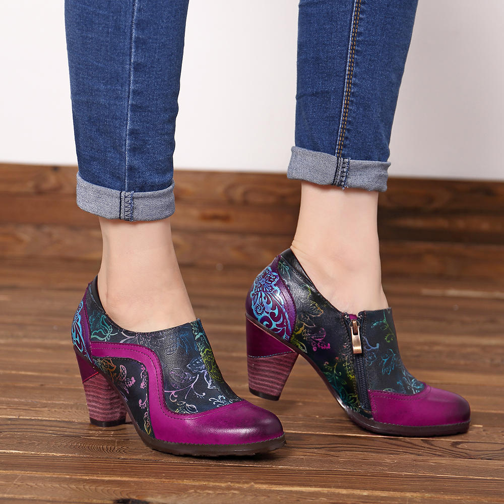SOCOFY Retro Splicing Pattern Zipper Pumps Leather Ankle Boots