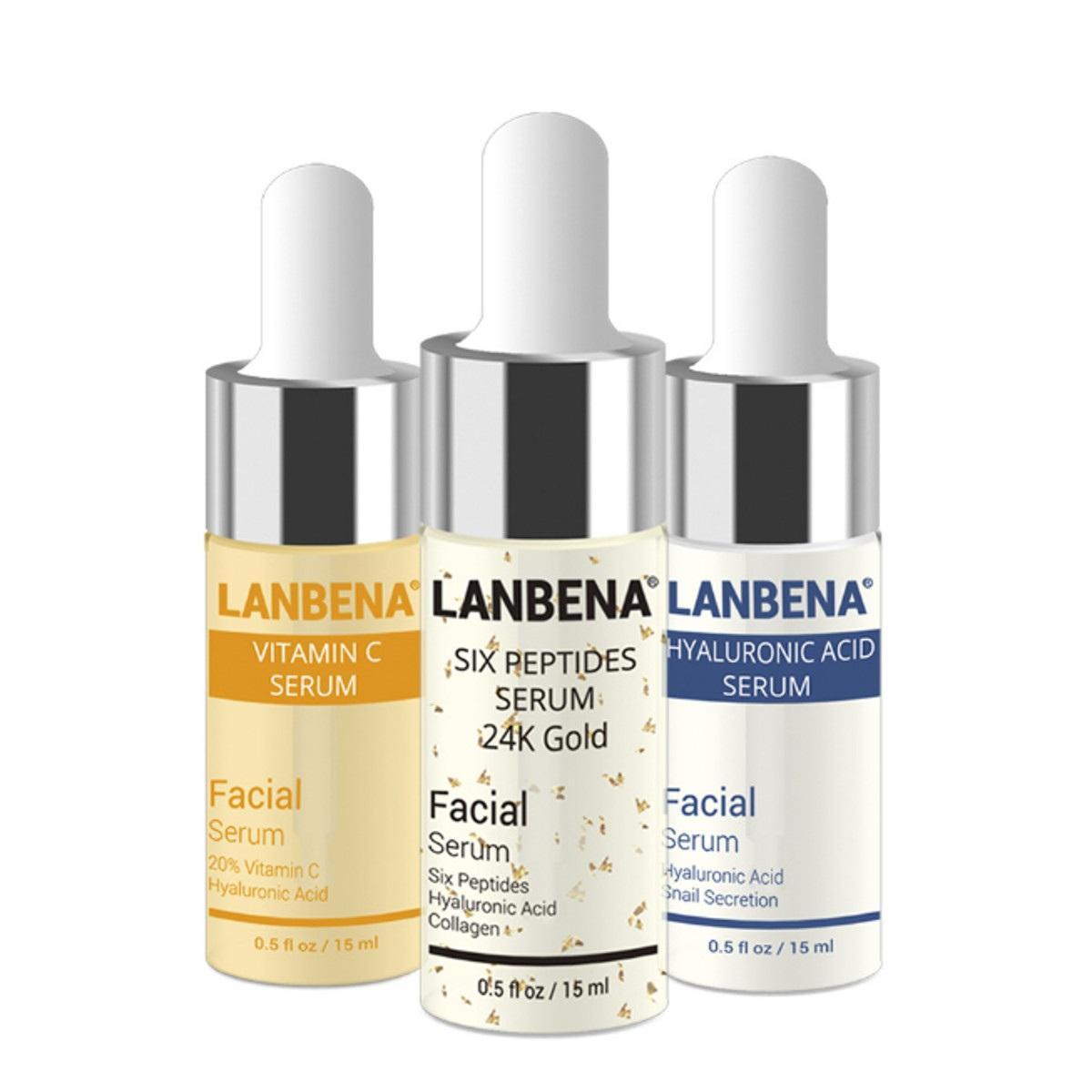 LANBENA 3pcs suero ácido hialurónico Seis péptidos suero 24K oro vitamina E antienvejecimiento