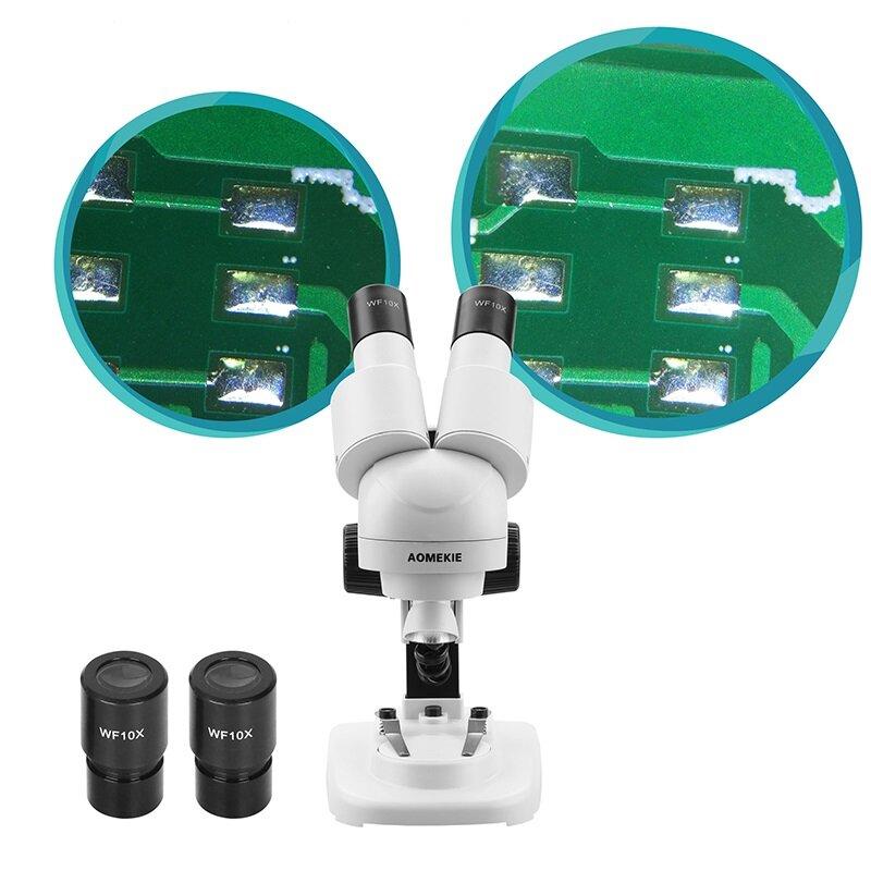 Бинокулярный стереомикроскоп AOMEKIE 20X Top LED HD Изображение PCB Припой Образец для ремонта телефона Просмотр минерал