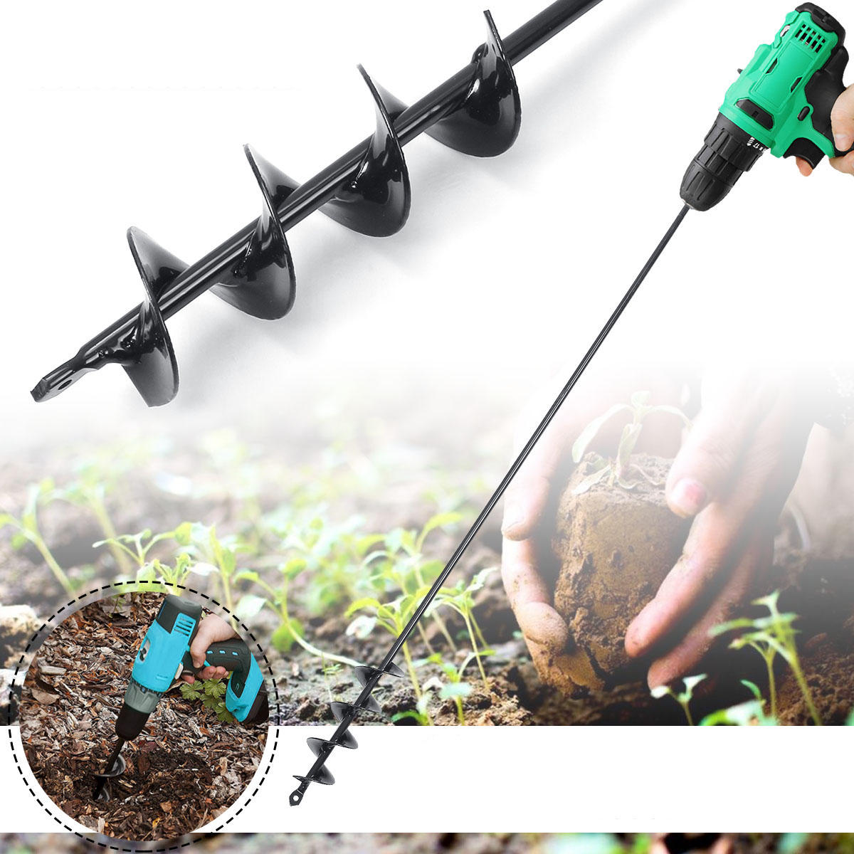 750 × 50mm Earth Auger Mũi khoan xoắn Bit Post Hole Digger Home Garden Auger Khoan