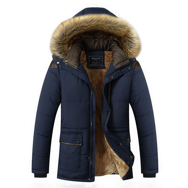 c46091be Herre Tyk Fleece Varm Hooded Pels Vinter Outwear Jakke Outdoor Casual  Skulder Splits Coat