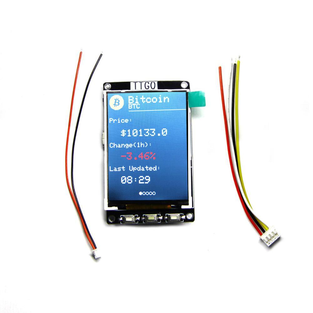 LILYGO® TTGO BTC Ticker ESP32 Mô-đun cho Arduino Nguồn Chương trình xử lý giá Bitcoin Bitcoin 4 MB SPI 4439441 4 MB Màn hình LCD Psram