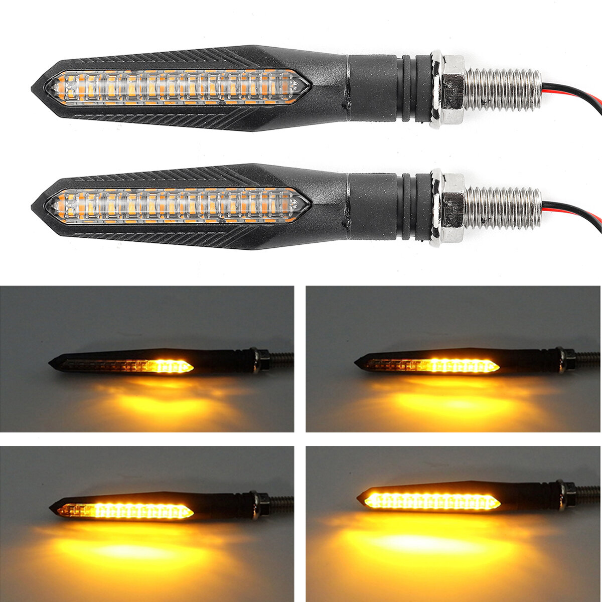 2 X Universal Amber LED Motorcycle Turn Signal Indicator Clear Effect Lens Light