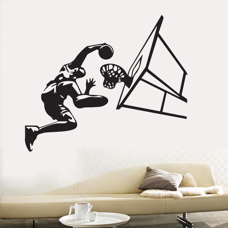 Honana Basketball Player Air Slam Dunk Removable Wall Sticker for Boys Bedroom Sticker Vinyl Decals Sport Room Decoration Basketball Dunk Sports Art Wall Stickers