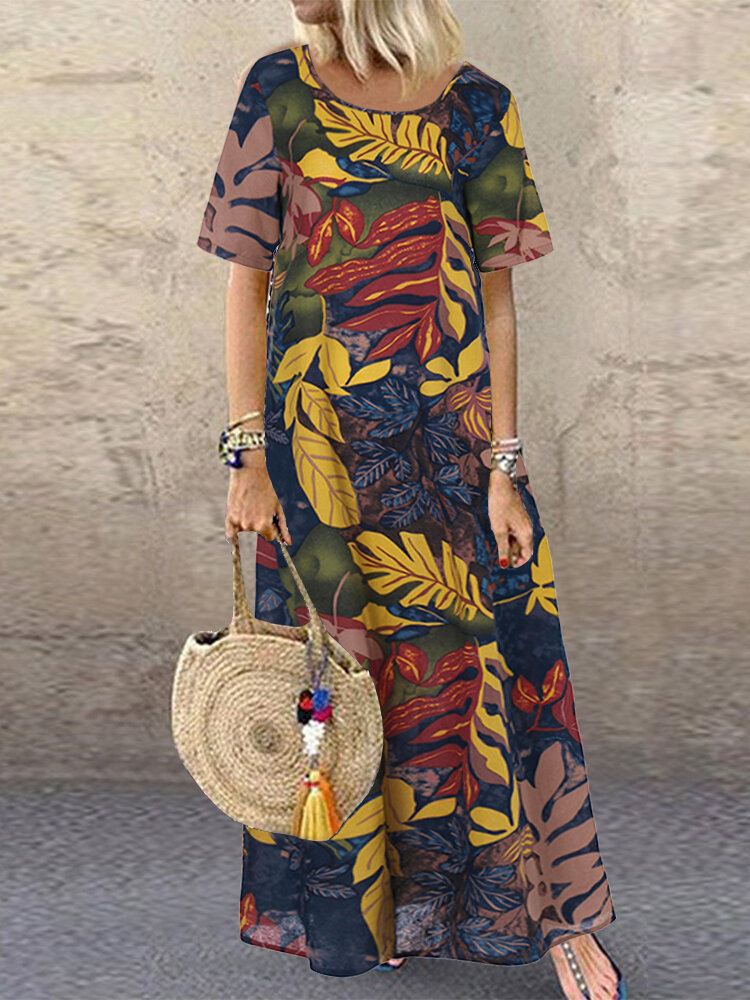 Women Short Sleeve Crew Neck Floral Cotton Vintage Maxi Dress, ZANZEA  - buy with discount