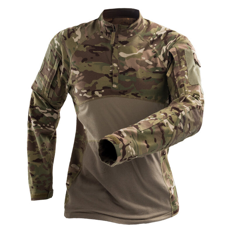Men's Outdoor Tactical Printing Breathable Elastic Soft Wearable Zipper Collar Casual T-shirts