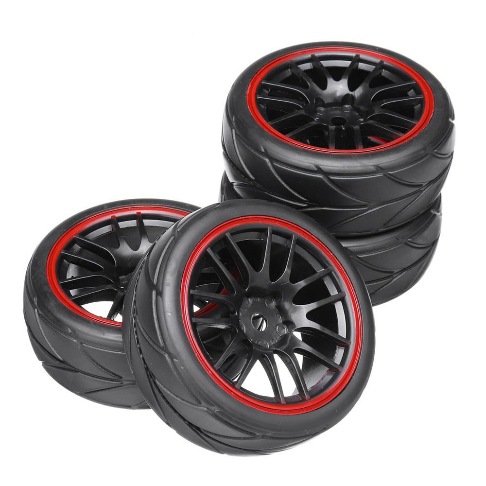 4PCS 12mm Hub Wheel Rims & Rubber Tires for HSP HPI Tamiya 1/10 On-road Drift Rc Car Parts
