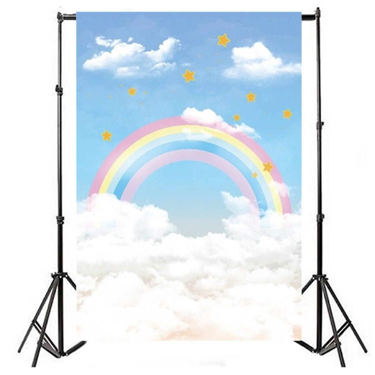 8a5cf29fe96c 2.1m x 1.5m Rainbow Clouds Stars Theme Photography Vinyl Backdrop Studio  Background
