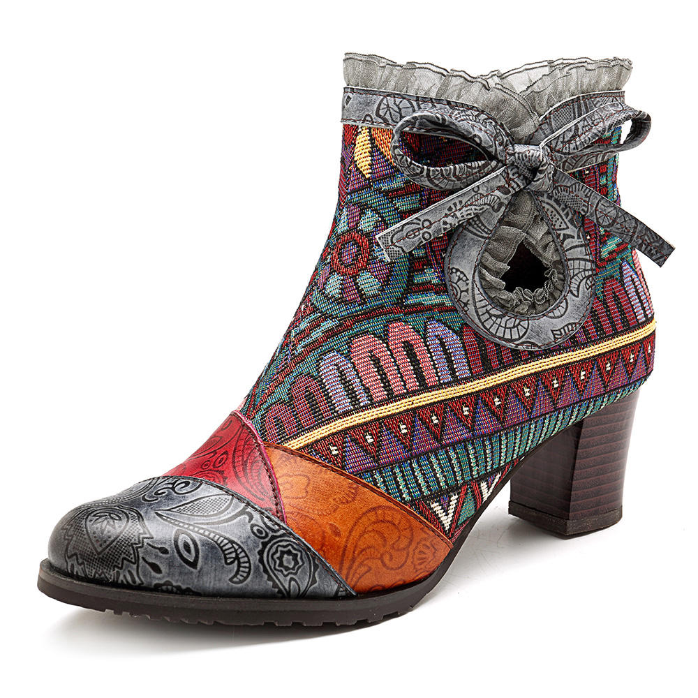SOCOFY Splicing Pattern Lace Block Zipper Leather Ankle Boots