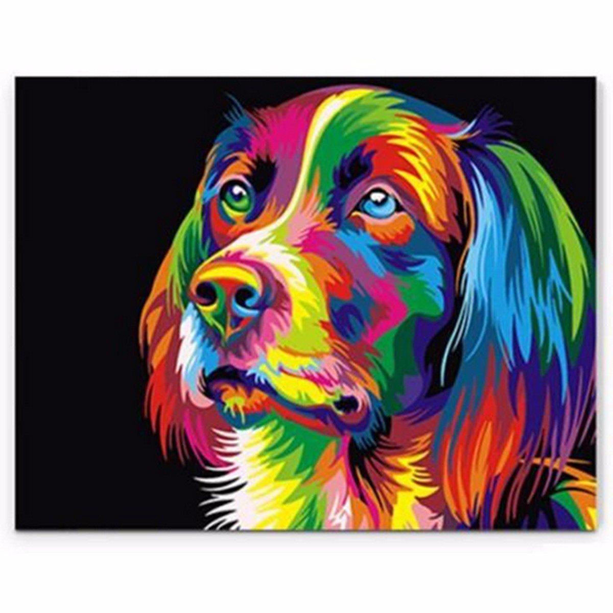 50x40 سنتيمتر كولورفول جرو الكلب حيوان الحيوانات الأليفة دي الذاتي يدويا الطلاء كيت ديكور المنزل الخشب مؤطر
