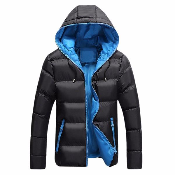 Mens Winter Hooded Windproof Contrast Color Warm Cotton Padded Jacket