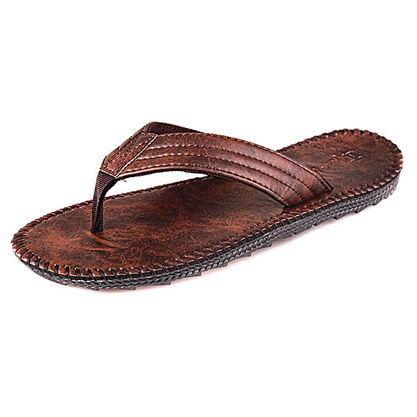 new high new appearance release info on Men Leather Flip Flops Thick Bottom Comfortable Beach Can Be Immersed In  Seawater Durable Shoes