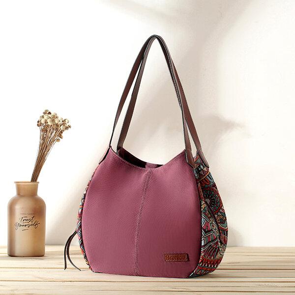 3 Main Bags Brenice Bohemia Large Capacity Canvas Floral Handbag Shoulder Bag For Women