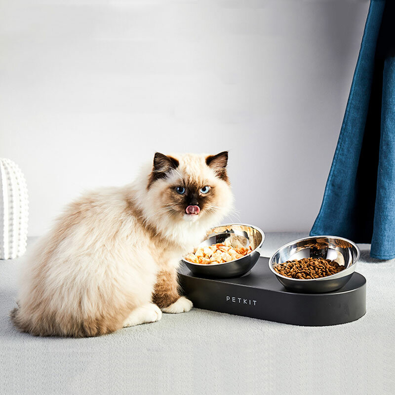 New PETKIT stainless steel Double bowls FRESH Nano 15° Adjustable Double Feeder Bowls Water Cup Cat Bowls Drinking Bowl From Xiaomi Youpin