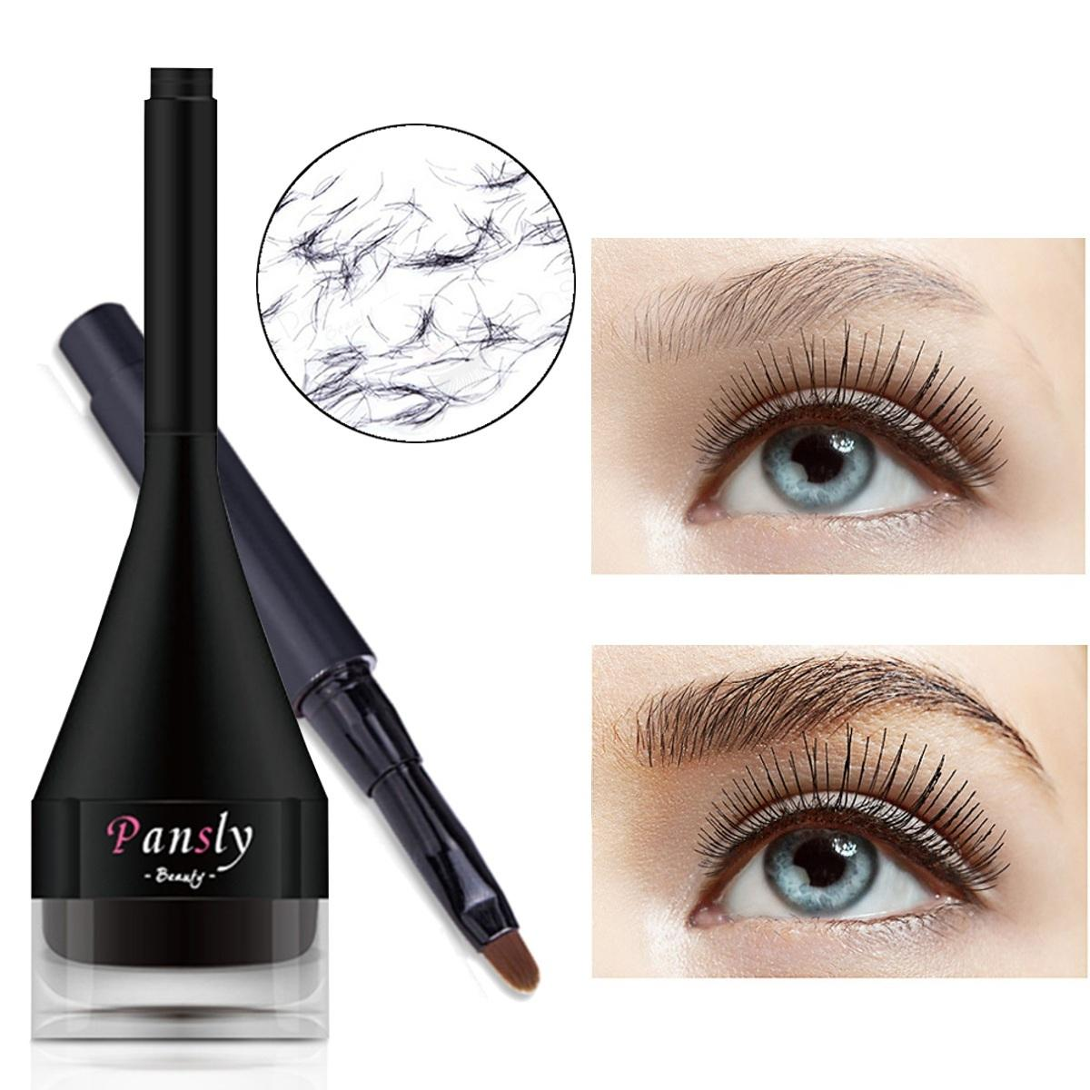 PANSLY 3D Hair Fiber Waterproof Instant Eyebrow Extensions and Eye Brow Brush